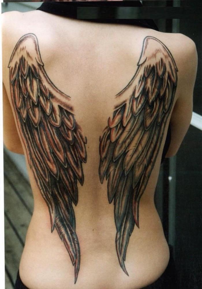 heaven tattoos, angel wings, back tattoo, blurred background