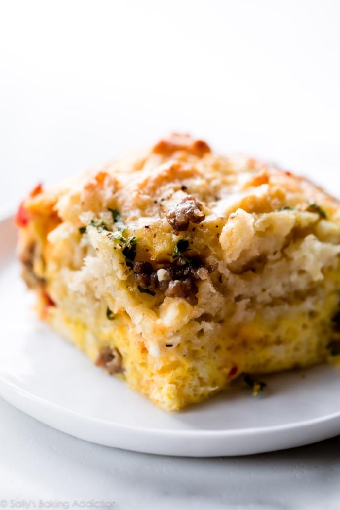 baked casserole, on white plate, brunch menu, white background