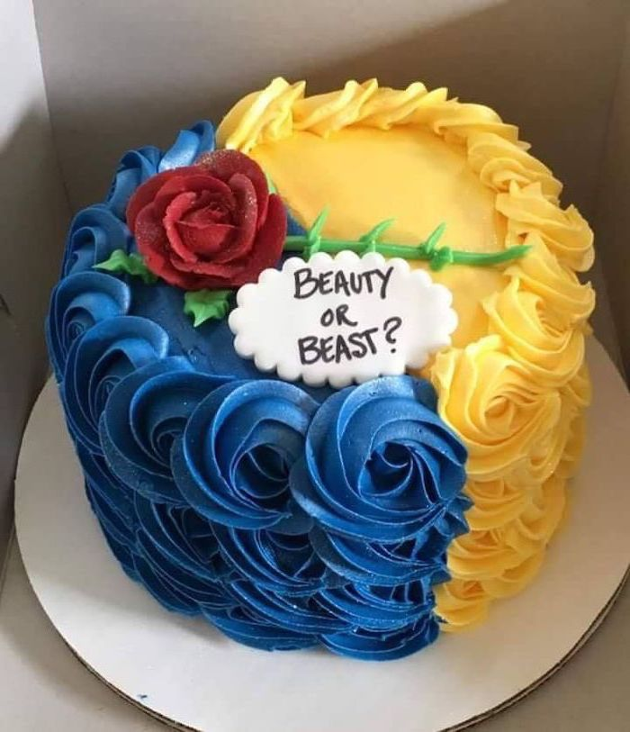 beauty or beast, blue and yellow frosting, unique gender reveal ideas, red rose on top