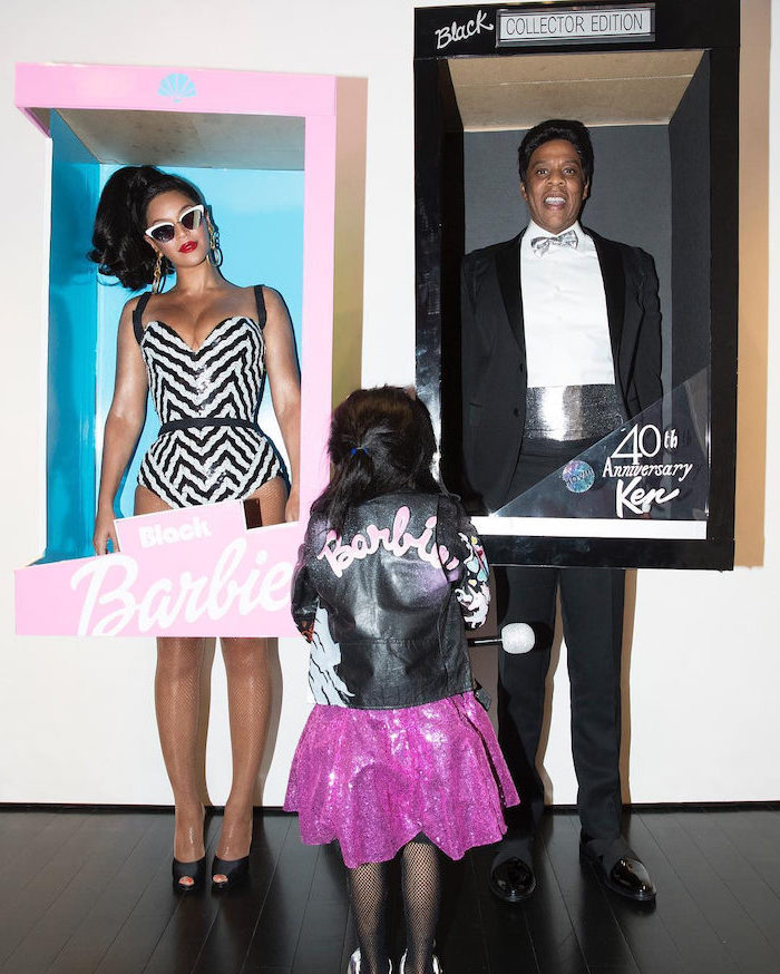 beyonce jay z and blue ivy, cute halloween costumes, dressed as barbie and ken, inside boxes