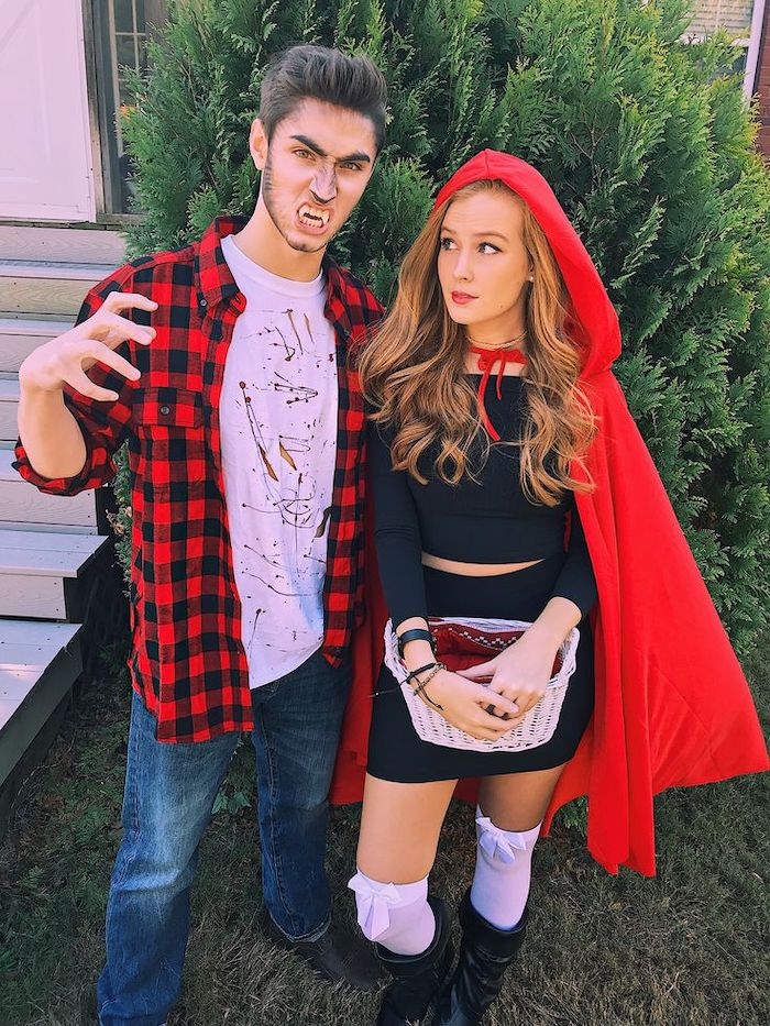 man and woman, dressed as big bad wolf, red riding hood, cute halloween costumes