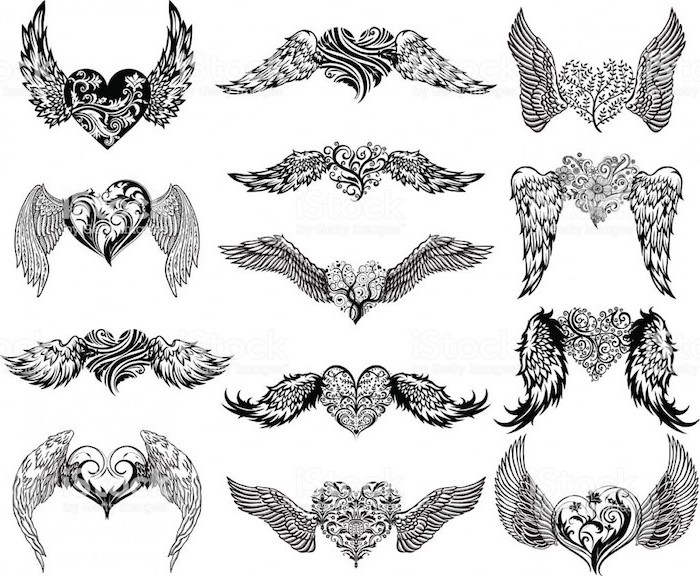 different styles, heart with wings, black and white, sketch drawings, wings tattoo on back