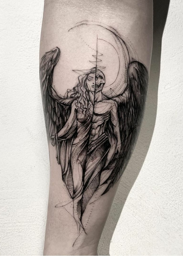 forearm tattoo, black and white photo, half angel half demon woman, half angel half demon tattoo