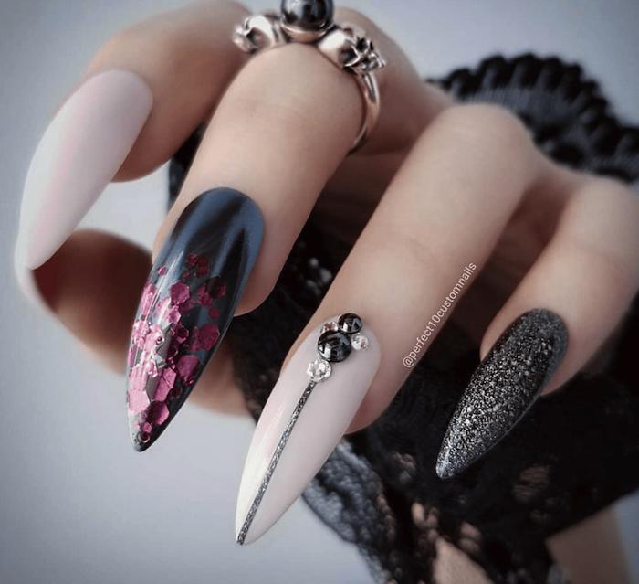 halloween nails, black chrome, white matte, nail polish, black glitter, long stiletto nails, silver ring