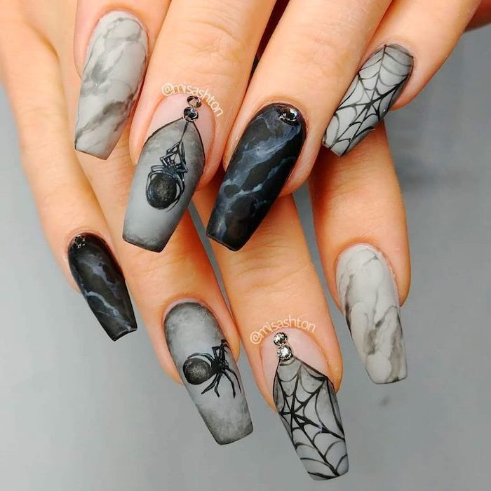 black and grey, marble nails, spider webs, spiders decorations, coffin nails, halloween nails