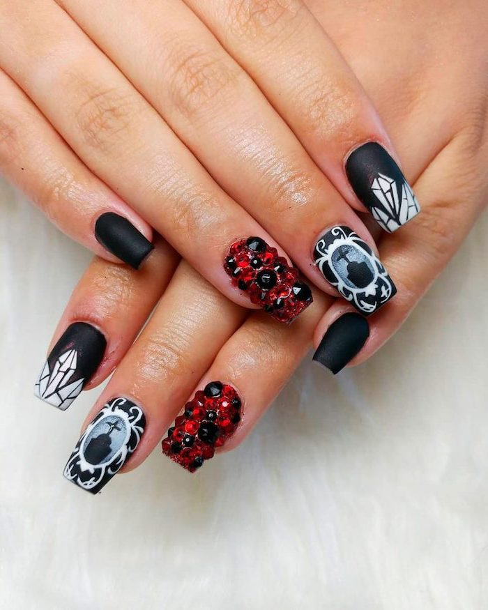 black matte, nail polish, halloween nails, black and red rhinestones, cemetery decorations