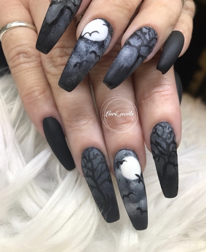 black and grey, matte nail polish, nail ideas, long coffin nails, spooky forrest decorations