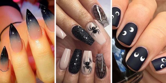 side by side photos, halloween acrylic nails, different designs, black nail polish, ombre nails, different decorations