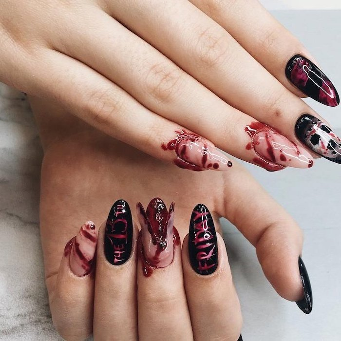 friday the 13th inspired, halloween nail designs, bloody nails, black and red nail polish, almond nails