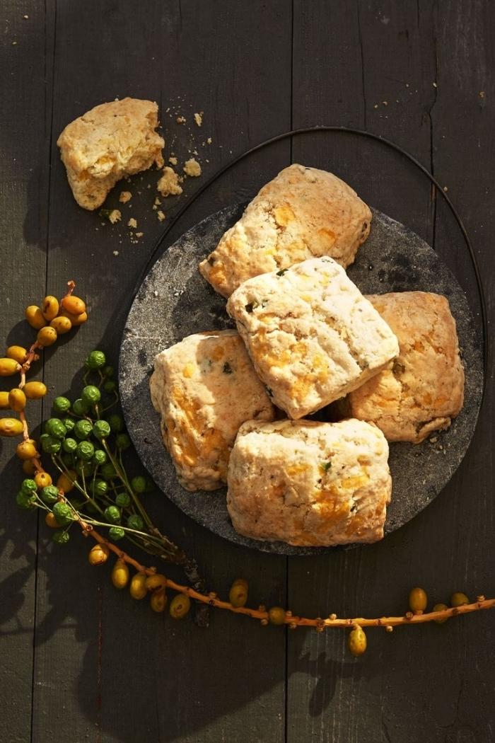 back wooden table, breakfast potluck ideas, baked pastries, granite board