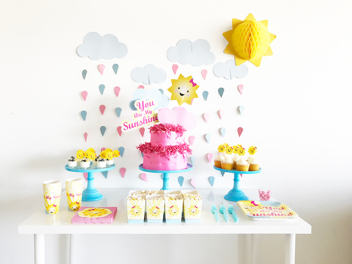 baby shower ideas for girls, you are my sunshine, blue cake stands, paper cup and plates, wooden table