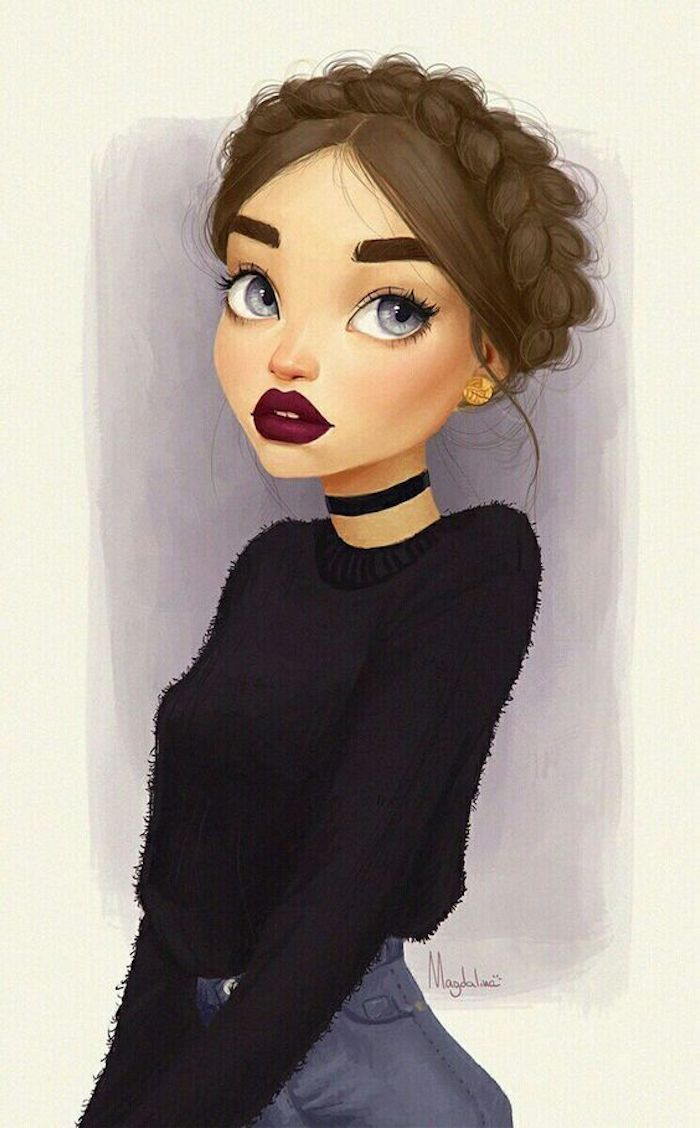 girl with braids, wearing black sweater and jeans, black choker, pictures of drawings, blue eyes, red lips