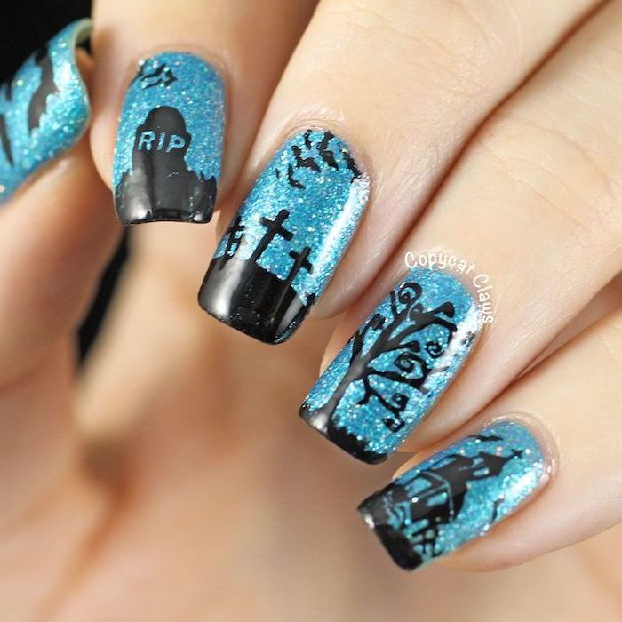 blue glitter nail polish, cemetery decorations, halloween acrylic nails, squoval nails, haunted house