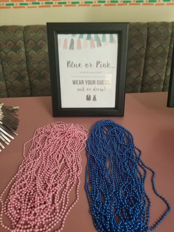 blue or pink, wear your guess, black frame, unique gender reveal ideas, pink and blue pearls