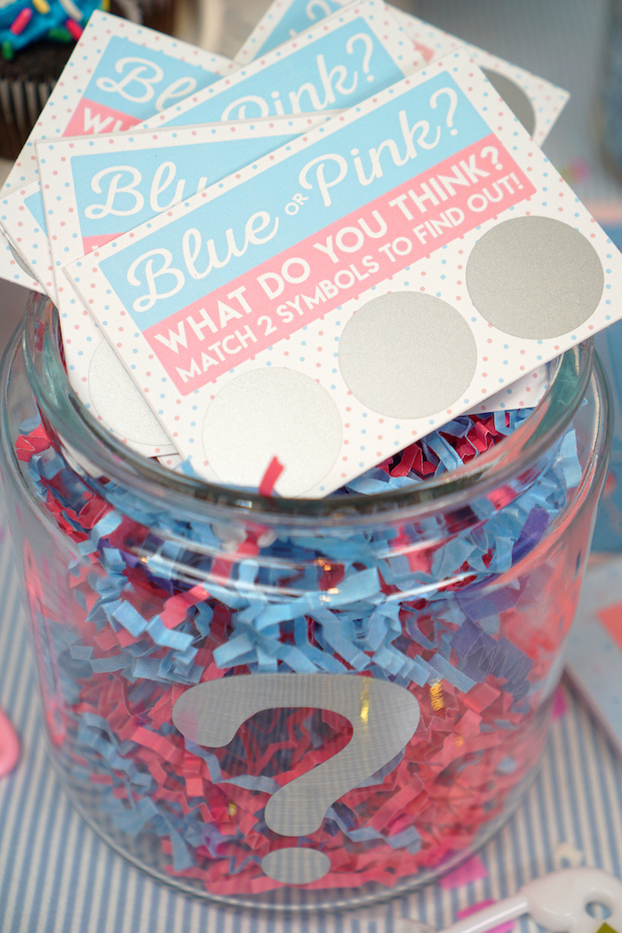gender reveal games, blue or pink, what do you think, scratch cards, jar full of confetti