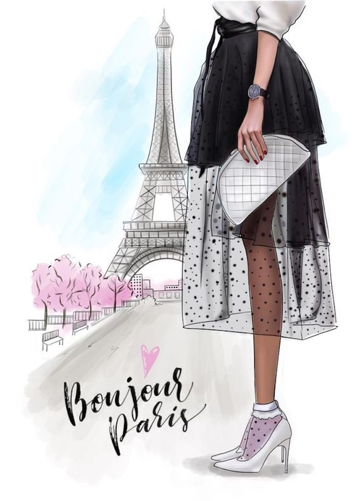 drawing outlines, girl with a black tulle skirt, white heels, bonjour paris, eiffel tower