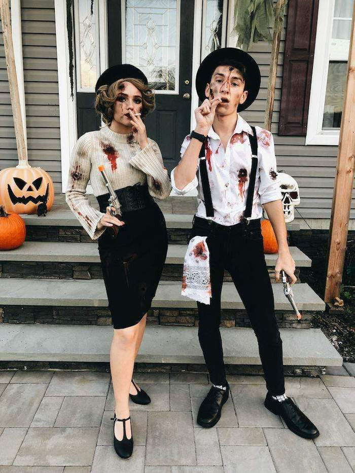 man and woman, dressed as bonnie and clyde, carrying guns, smoking cigarettes, cute halloween costumes