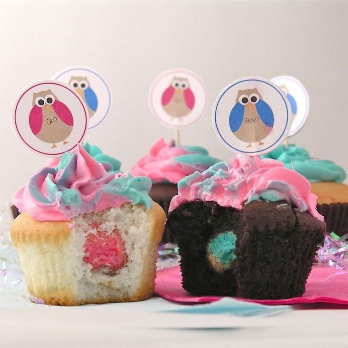 small cupcakes, blue and pink on the inside, owl cake toppers, colorful frosting, gender reveal themes