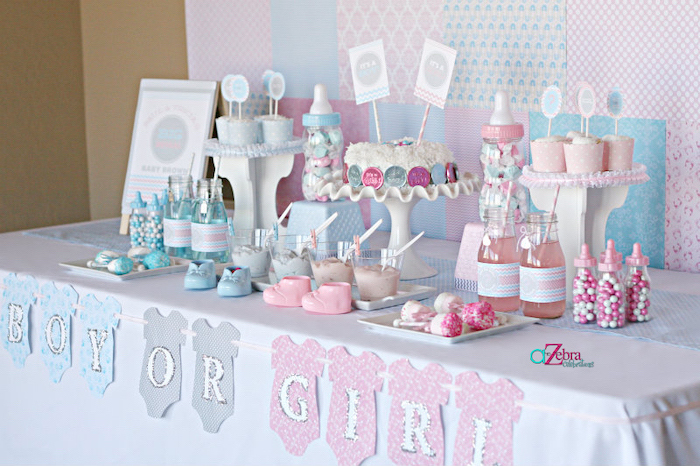 dessert table, gender reveal games, pink and blue cupcakes, sweets and candy, boy or girl