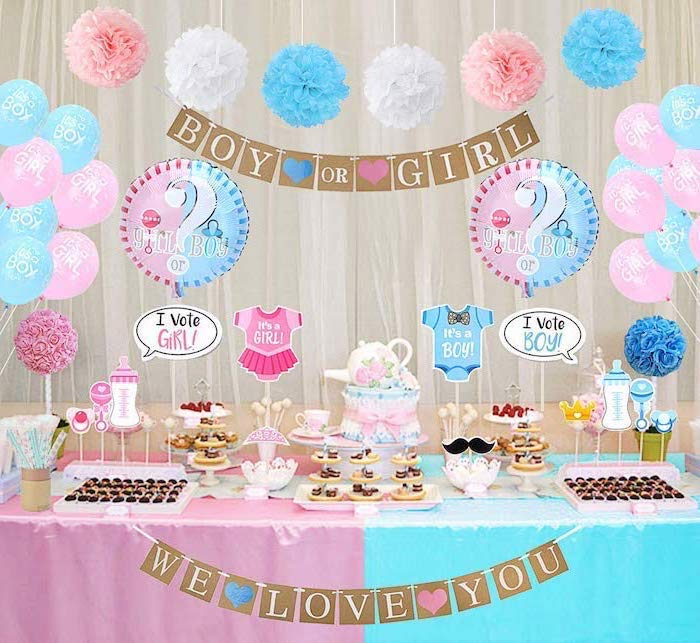 boy or girl, dessert table, gender reveal themes, balloons and banners, we love you garland