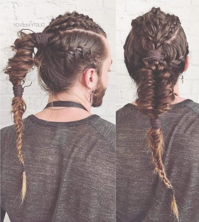 side by side photos, man with long, brown hair, braided hairstyles, wearing a gray blouse