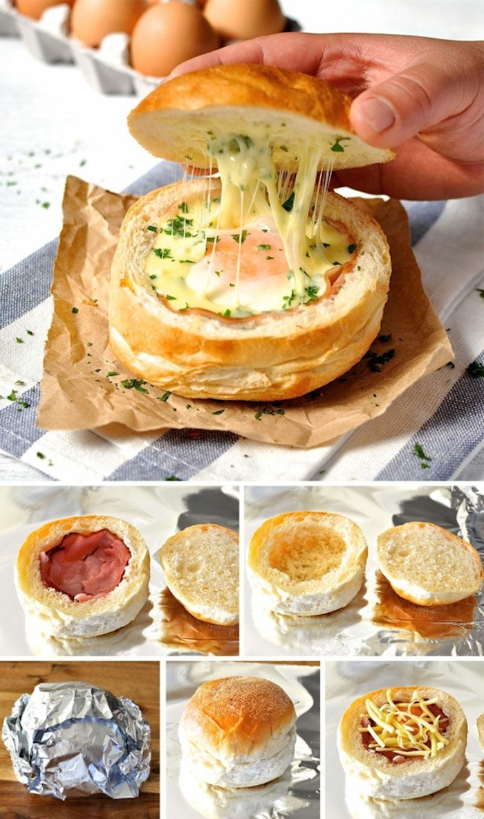 bread filled with and egg, bacon and cheese, chives for garnish, step by step, diy tutorial, good breakfast ideas