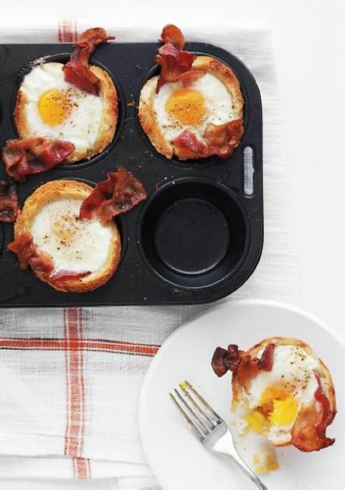 egg muffins, with bacon, best breakfast recipes, black muffin tray, white plate