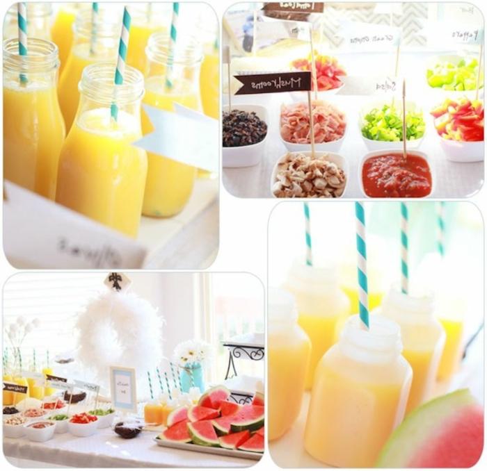 photo collage, breakfast meals, orange juice, white bowls, with different garnish