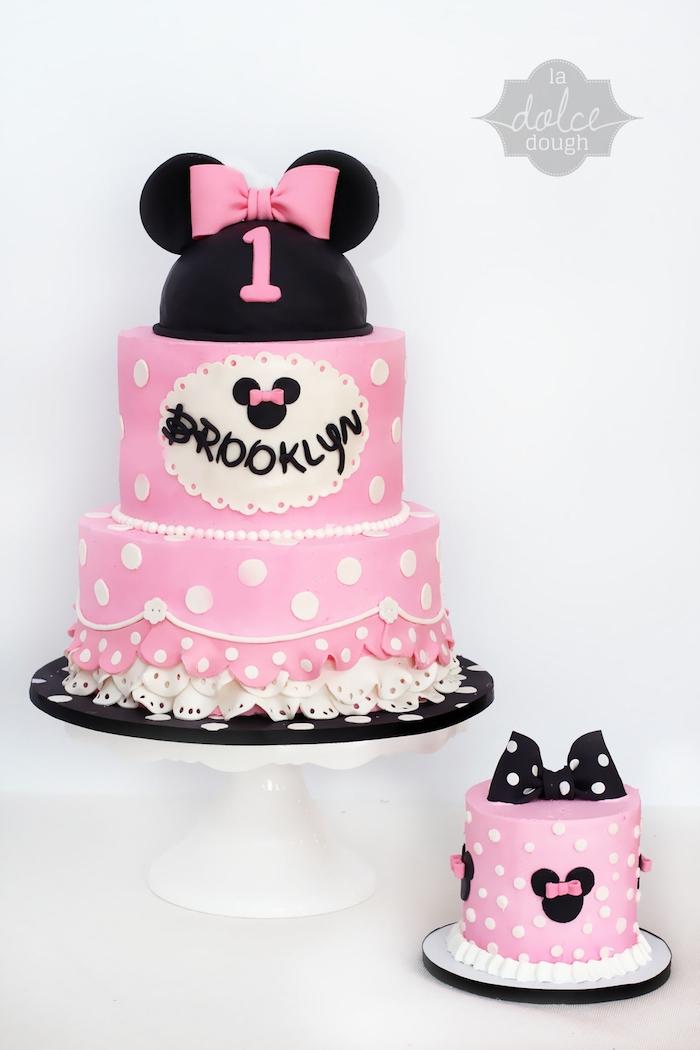 three tier cake, pink fondant, smash cake, minnie mouse 1st birthday cake, white cake stand