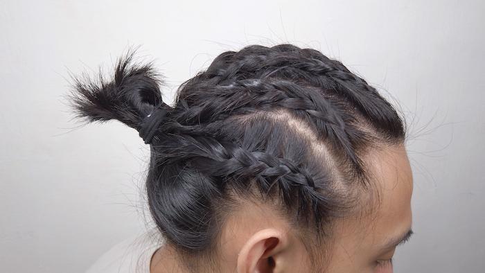 french braids, in a bun, man with brown hair, box braids men, white background