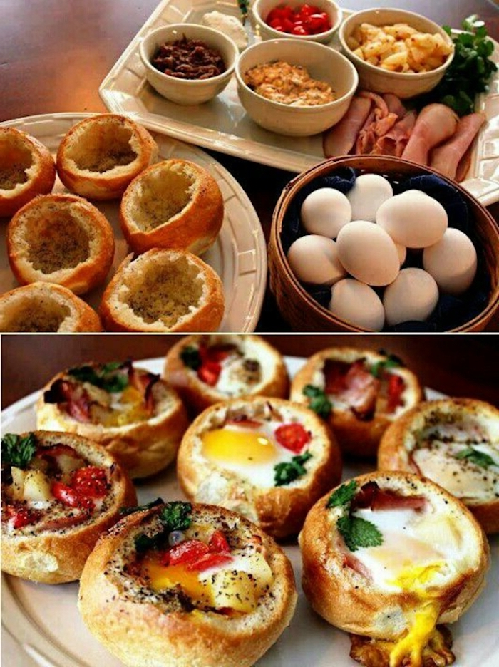 bread with eggs, chopped vegetables, white bowls, with different garnish, breakfast meals