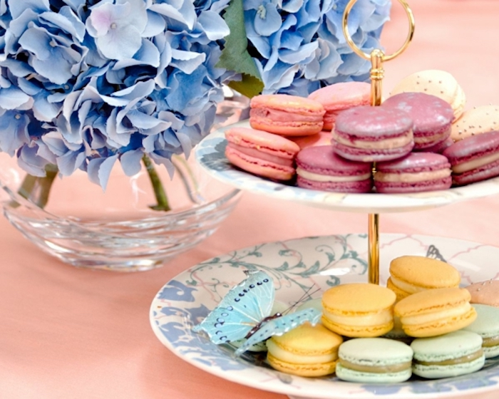 colorful macarons, on two white plates, brunch food ideas, blue hyacinth flowers