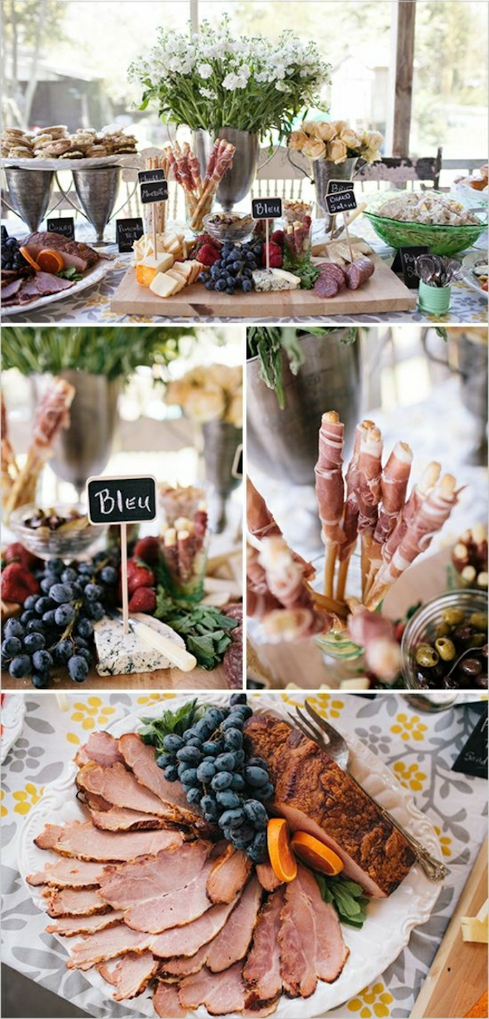 photo collage, brunch table, brunch food ideas, sliced ham with grapes, cheese board, white flowers
