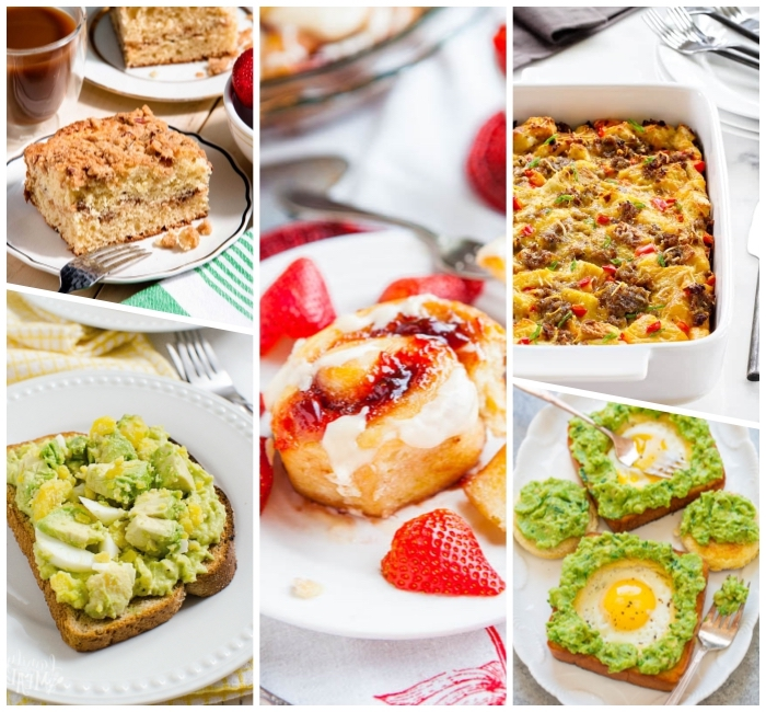 what is brunch, photo collage, baked casserole, avocado toast, cake and cinnamon buns