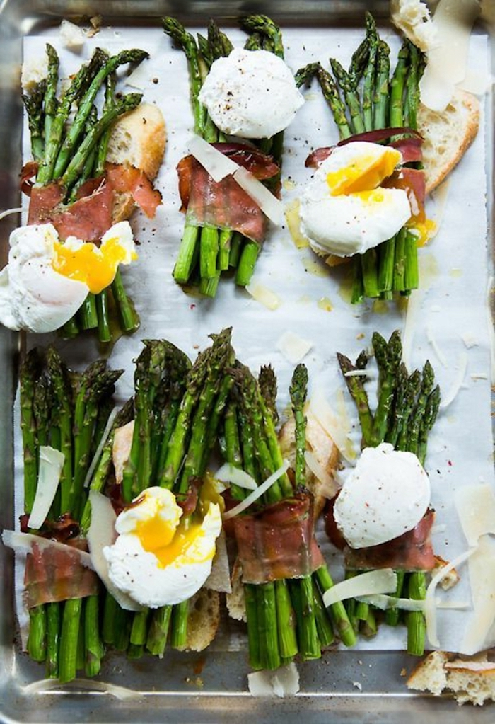 baked asparagus, with bacon and eggs, what is brunch, on a silver tray