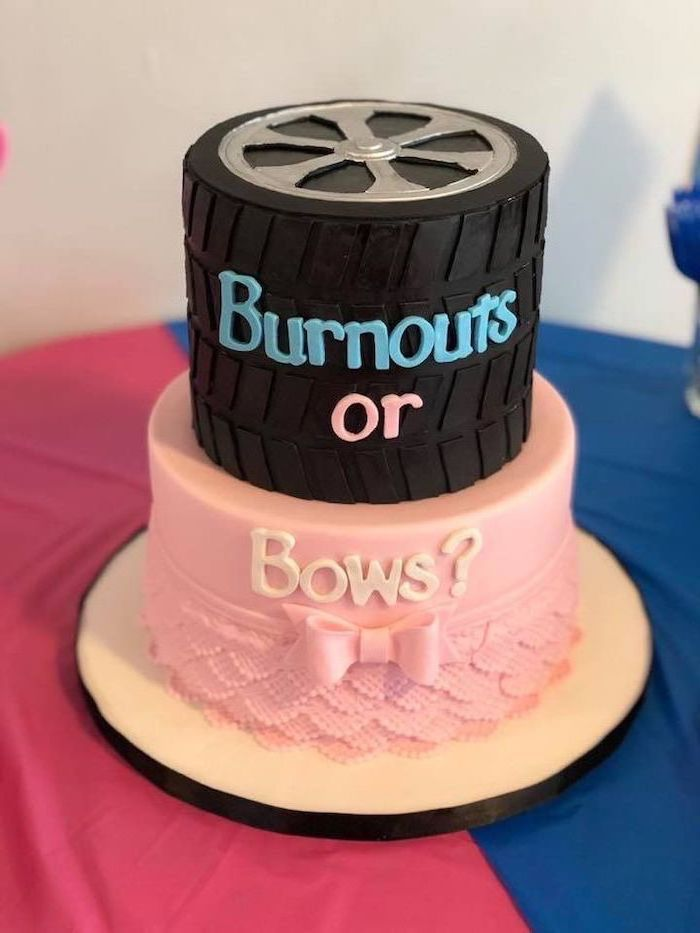 burnouts or bows, two tier cake, gender reveal games, pink and blue table cloth