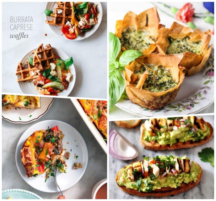 brunch recipes, burrata caprese waffles, egg muffins, avocado toasts, photo collage
