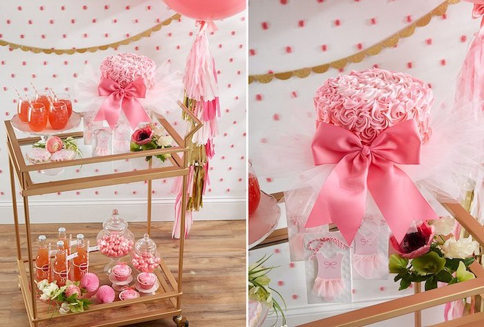 side by side photos, dessert table, baby shower ideas for girls, cake with pink frosting, pink satin bow