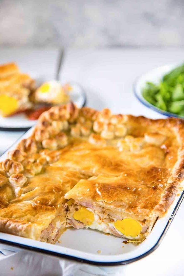 white tray, baked casserole, brunch menu ideas, green salad, eggs and ham