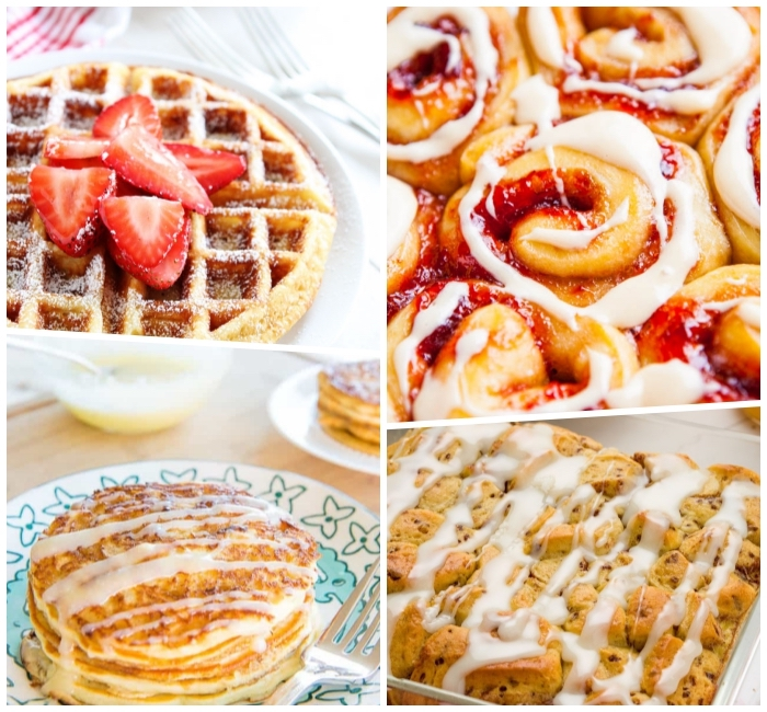 brunch menu ideas, waffle with strawberries, cinnamon buns, pancakes and cake, photo collage