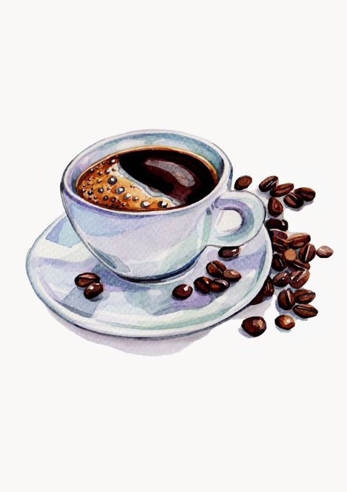 tracer drawing, coffee cup, coffee beans, white background