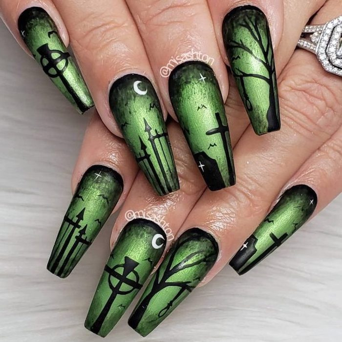 green nail polish, black cemetery decorations, halloween nail ideas, long coffin nails, white background