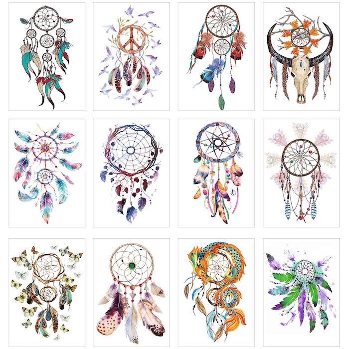 dreamcatcher meaning, photo collage, different drawings, colored drawings