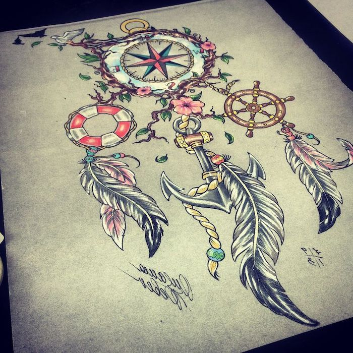 colorful drawing, dreamcatcher with compass, anchor and wheel, dreamcatcher tattoo meaning