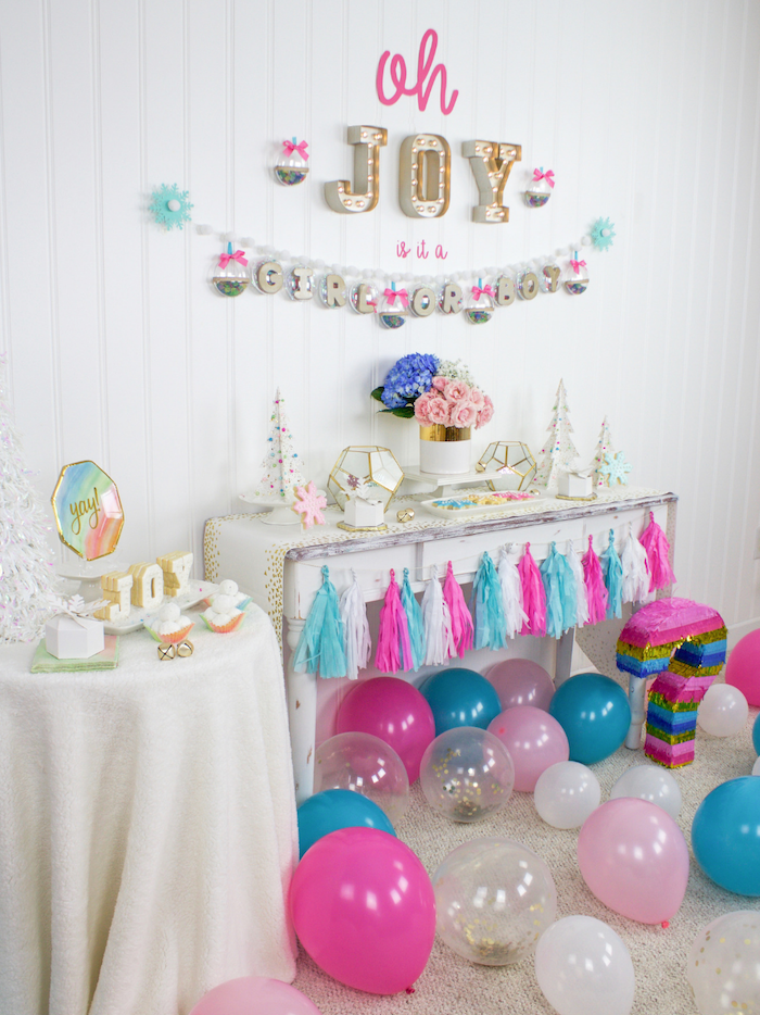 oh joy, is it a girl or boy, pink and blue balloons, gender reveal party ideas, question mark pinata