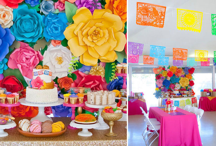 side by side photos, colorful decor, large paper flowers, baby shower food ideas, dessert table