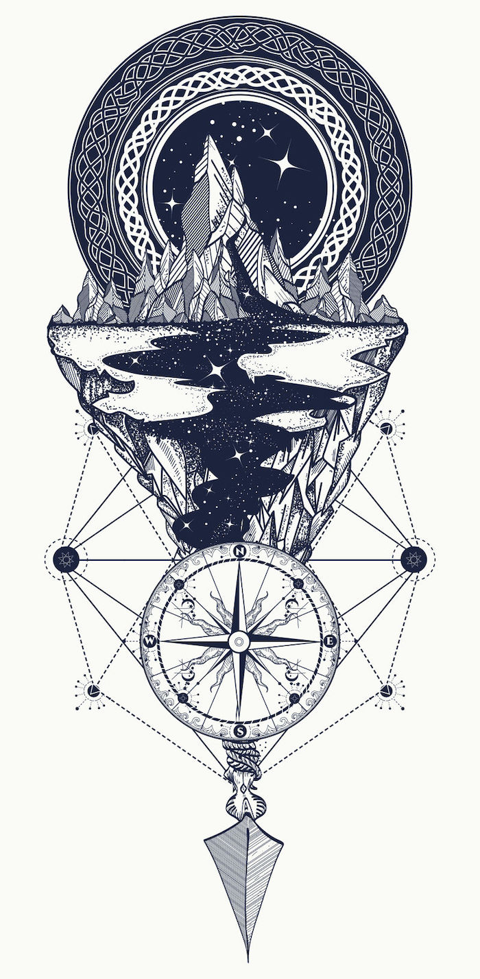 black and white drawing, compass rose tattoo, mountain landscape, with a river flowing