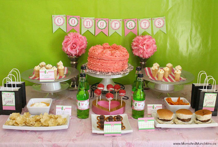 sweet and savoury table, green and pink decor, congrats garland, baby shower food ideas, burgers and pretzels