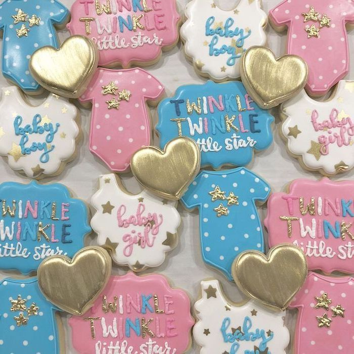 decorated cookies, gender reveal party, twinkle twinkle little star, baby boy, baby girl