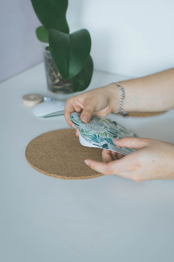 floral paper, cork circle, office cubicle decor, step by step, diy tutorial, cork mouse pad